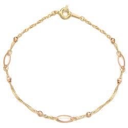 Rondell fish bracelet 14k