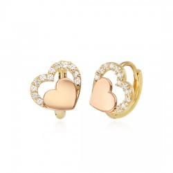14k / 18k adorable pink heart earring