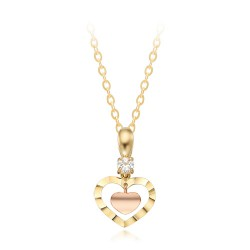 [20 Gift highly recommended] 14k / 18k Cut Mini Pink Heart Necklace