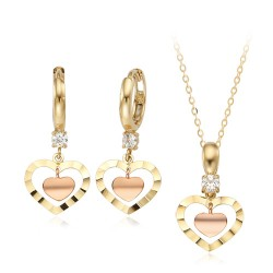 14k / 18k mini cut pink hearts Set