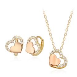 14k / 18k adorable pink hearts Set
