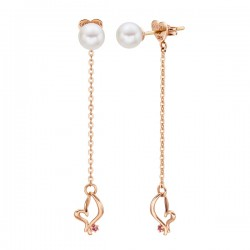 14k / 18k Charming Heart Pearl Earring